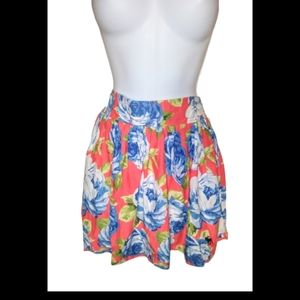 Abercrombie & Fitch orange&blue floral mkni skirt